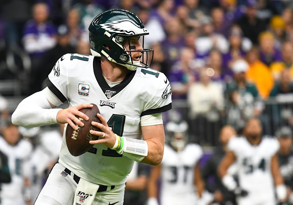 A cursory perusal of the box score hints that Carson Wentz is the reason the Eagles are struggling. A deeper dive doesn't back that up whatsoever. (Getty)