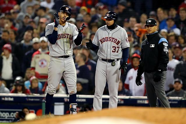The Houston Astros defeated the Boston Red Sox, 7-2, in Game 1 of the ALCS. (Getty Images)