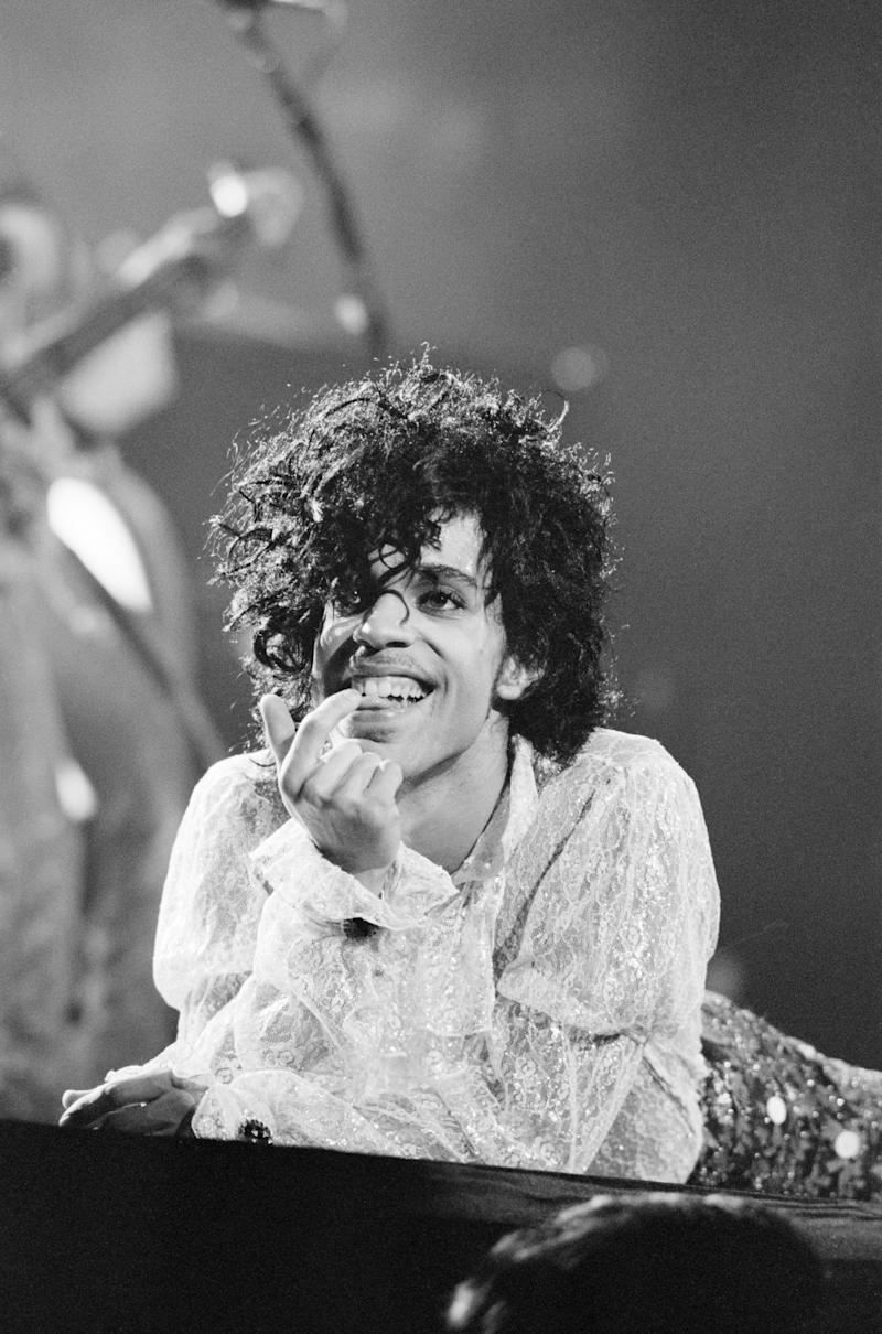 Prince performing on stage at the Joe Louis Arena, Chicago, USA, 11th November 1984. The Purple Rain Tour. (Photo by Mike Maloney/Mirrorpix/Getty Images)