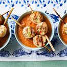 <p>We give this classic summer soup a protein-packed upgrade by pairing it with skewers of grilled scallops seasoned with citrusy compound butter. Make a little extra to spread on grilled bread to serve alongside.</p>