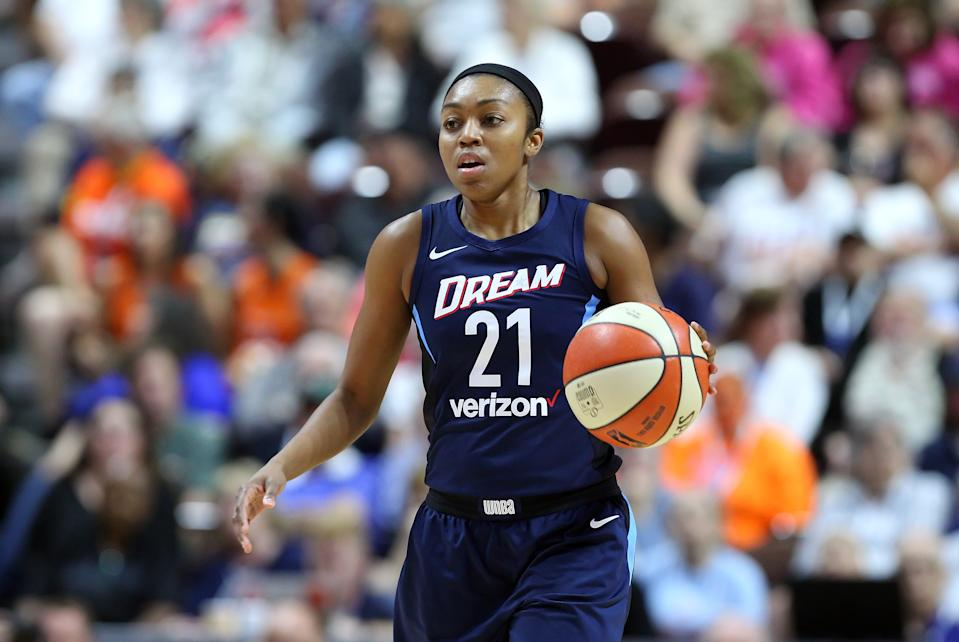 Atlanta Dream guard Renee Montgomery penned an open letter to Kelly Loeffler to explain the movement. (M. Anthony Nesmith/Icon Sportswire via Getty Images)