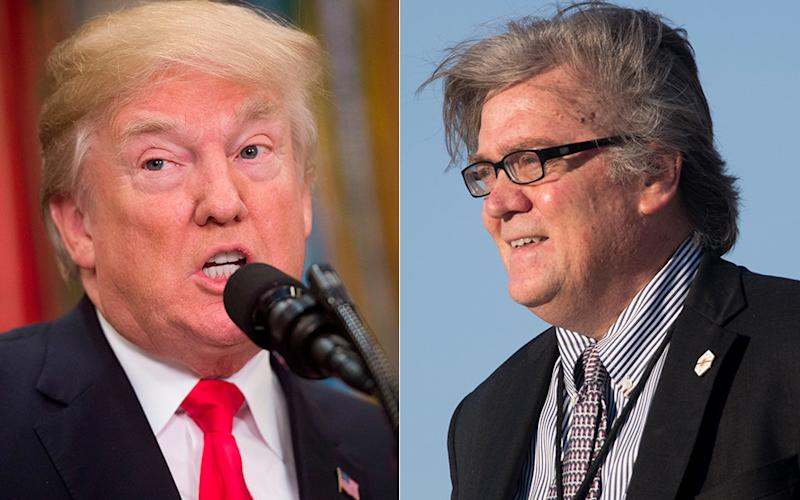 President Donald Trump hada bit of a disagreement Wednesday with former White House chief strategist Steve Bannon.