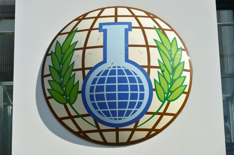 Moscow and its allies were trying to block next year's budget for the Organisation for the Prohibition of Chemical Weapons, whose logo is pictured at The Hague