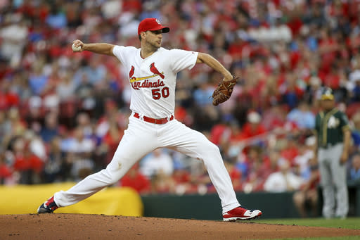 St. Louis Cardinals starting pitcher Adam Wainwright (50) delivers during the second inning of a baseball game against the Oakland Athletics Wednesday, June 26, 2019, in St. Louis. (AP Photo/Scott Kane)