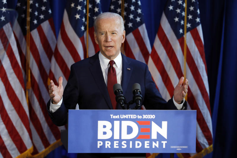 In this Tuesday, Jan. 7, 2020 file photograph, presumptive Democratic presidential nominee Joe Biden gestures during a foreign policy statement in New York. On Tuesday, a federal judge restored New York's Democratic presidential primary slated for June 23, after ruling that eliminating it was unconstitutional. (AP Photo/File, Richard Drew)