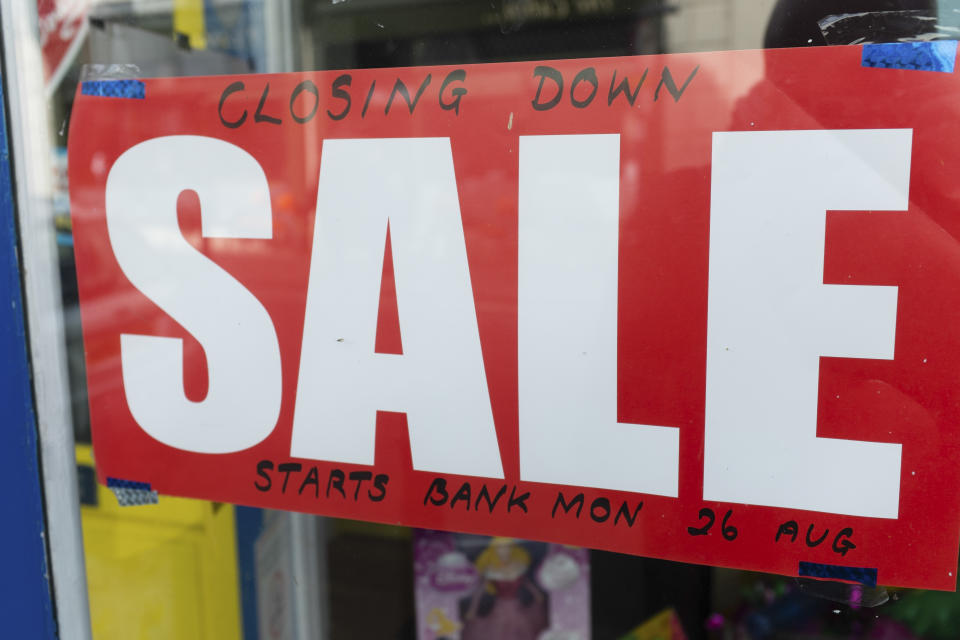 A Closing Down sale sign in a shop store window UK (Photo by: Photofusion/Universal Images Group via Getty Images)