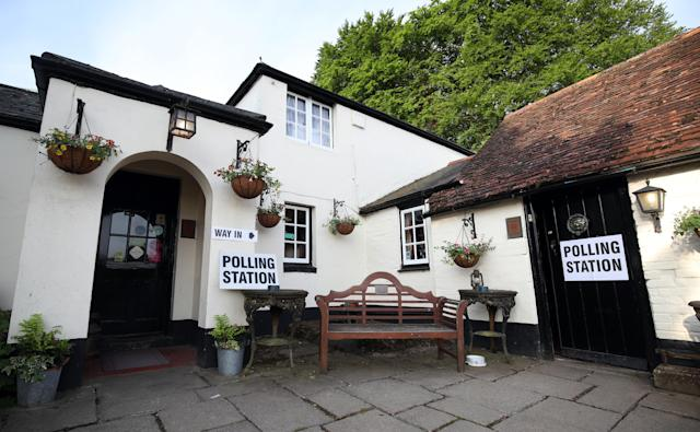 A general view of a polling station at the White Horse Inn in Priors Dean, Hampshire, also known as the 'Pub with no name', as voters head to the polls for the European Parliament election. (Photo by Andrew Matthews/PA Images via Getty Images)