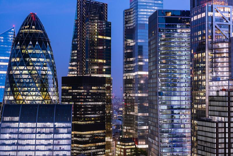 Evening London.UK. Office Buildings including The Shard, Scalpel, Swiss-Re Tower (Gerkin) and Cheesegrater