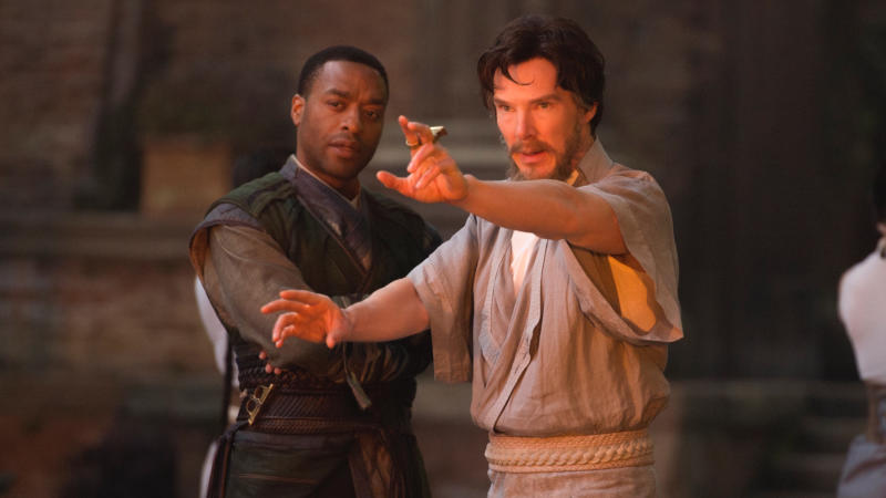 Chiwetel Ejiofor and Benedict Cumberbatch in 'Doctor Strange'. (Credit: Marvel/Disney)