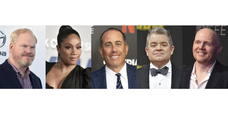 This combination photo shows comedians, from left, Jim Gaffigan, Tiffany Haddish, Jerry Seinfeld, Patton Oswalt and Bill Burr, who were nominated for a Grammy award in the best comedy album category. (AP Photo)