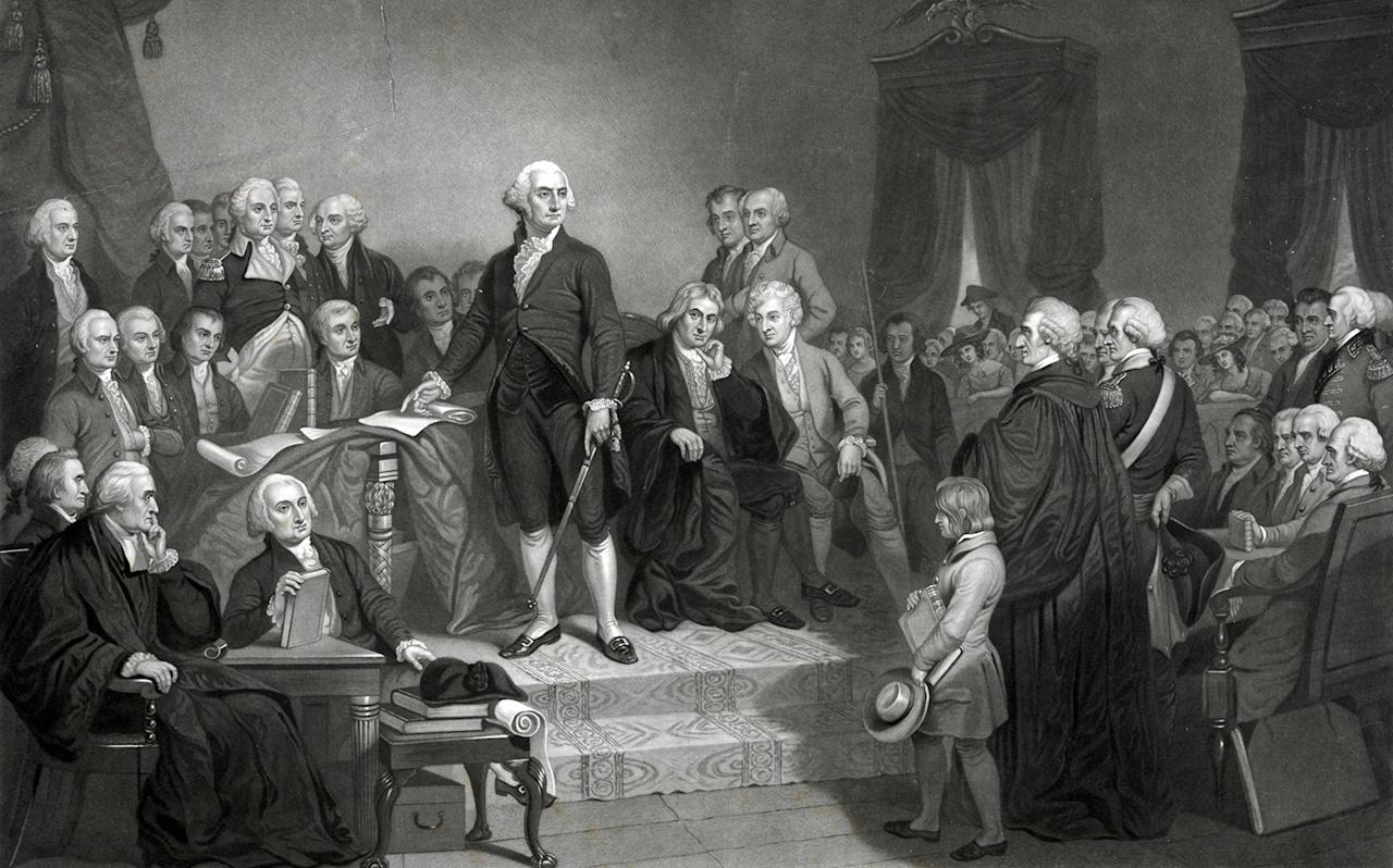 <p>Washington delivering his inaugural address in the old city hall, New York' George Washington delivering his inaugural address before members of the Congress. Includes text of speech. (Photo: Universal History Archive/UIG via Getty images) </p>