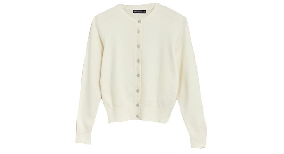 Soft Touch Crew Neck Button Front Cardigan