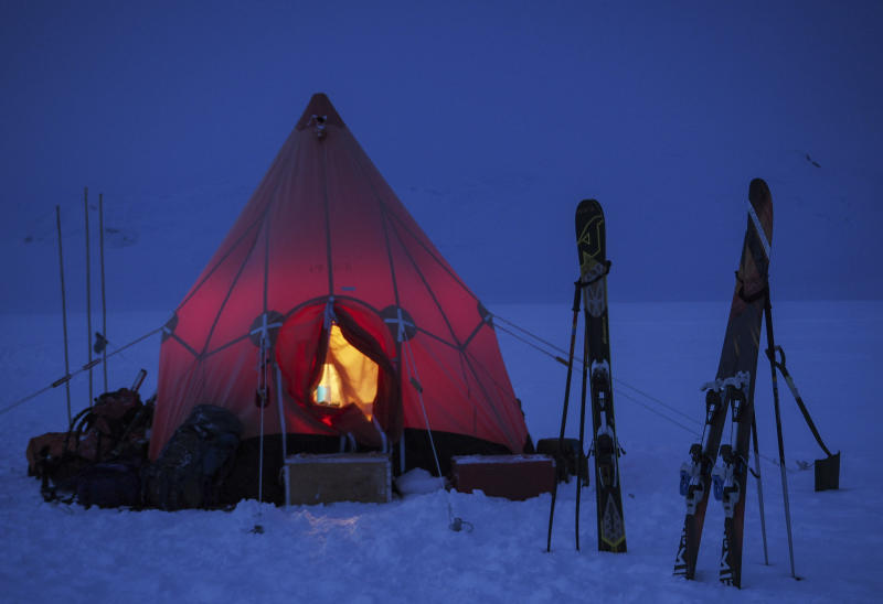 A pyramid tent is seen in Trident area, Adelaide island, Antarctica in March 2020.