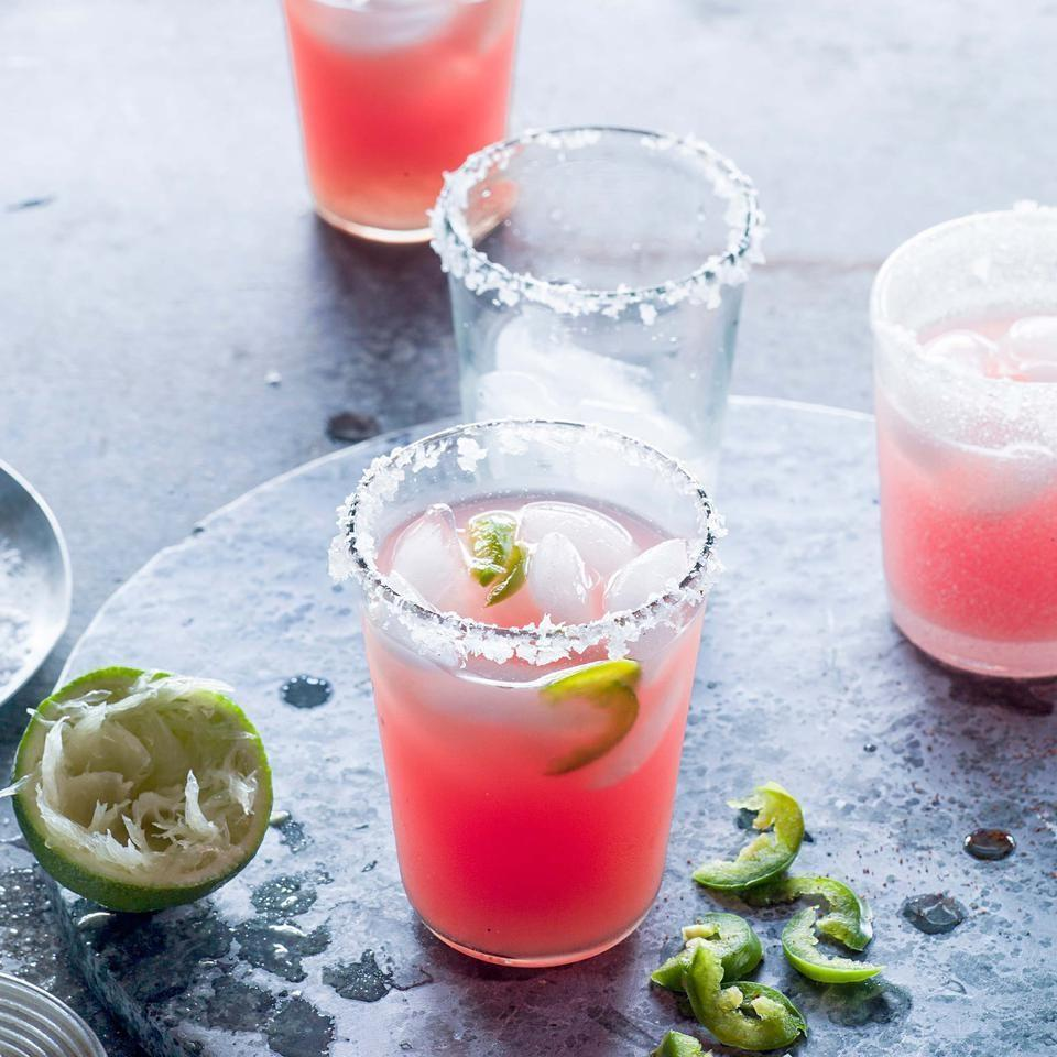 <p>When the fruit is ripe and you need a little kick in your glass, it's time for this spicy watermelon margarita recipe. Dip the glass rims in chili powder–spiked coarse salt for an extra layer of spice.</p>