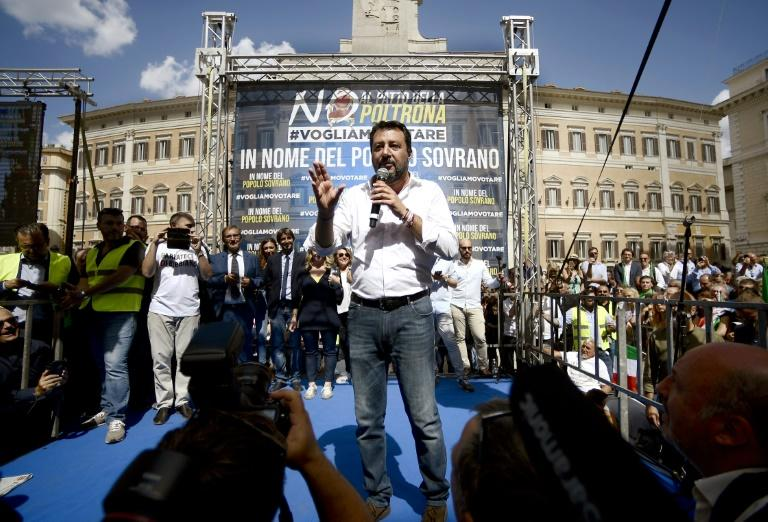 Former deputy prime minister Matteo Salvini leads speaks to a rally in Rome on Monday (AFP Photo/Filippo MONTEFORTE)