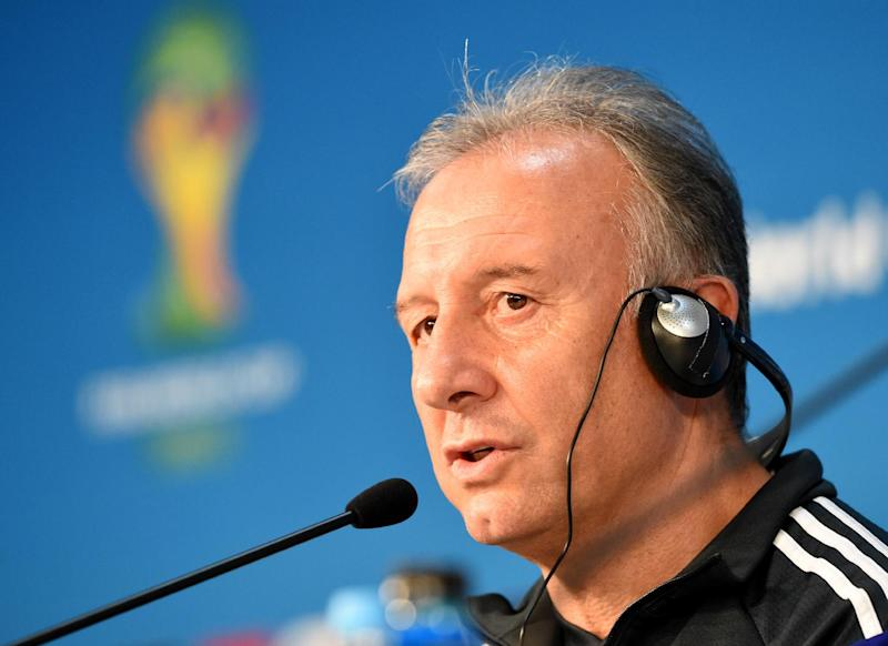 Japan's Italian coach Alberto Zaccheroni addresses an official press conference at The Pantanal Arena in Cuiaba on June 23, 2014