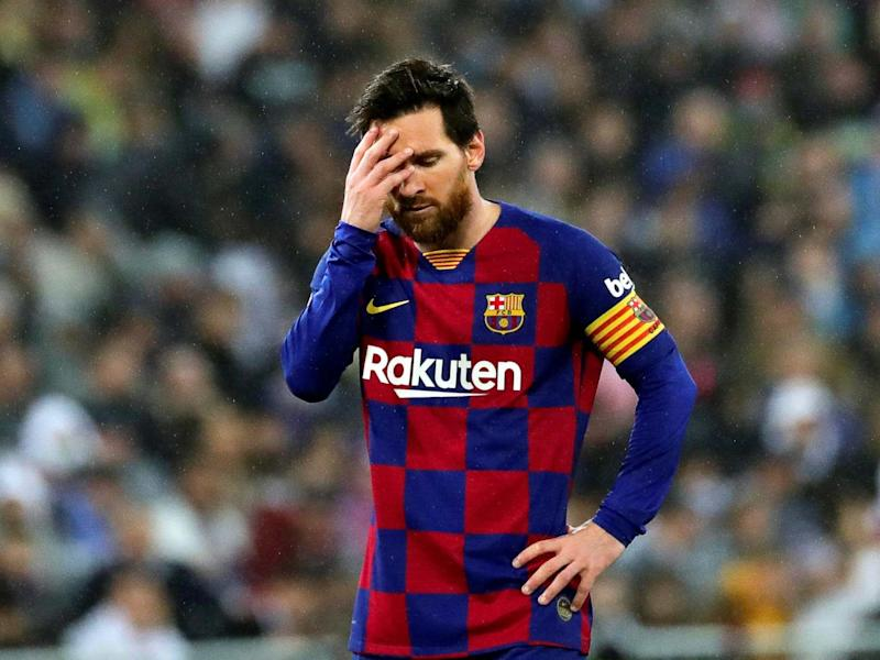 Lionel Messi reacts to Barcelona's El Clasico defeat: EPA