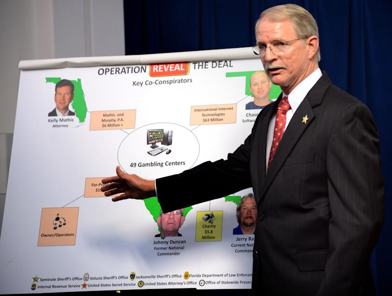 "Jacksonville (FL) Sheriff John Rutherford describes a chart showing the key co-conspirators in the operation ""Reveal the Deal"", an investigation of illegal operations and racketeering by Allied Veterans of the World. The news conference was held inside the Jacksonville Sheriff's Office in Jacksonville, Fla. on Wednesday March 13, 2013. (AP Photo/The Florida Times-Union, Bob Mack)"