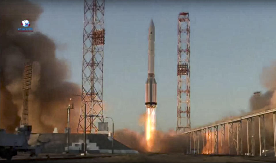 In this image taken from video provided by Roscosmos Space Agency Press Service, a Proton-M booster rocket carrying the Nauka module blasts off from the launch pad at Russia's space facility in Baikonur, Kazakhstan, Wednesday, July 21, 2021. Russia has successfully launched a long-delayed lab module for the International Space Station. The module is intended to provide more room for scientific experiments and space for the crew. (Roscosmos Space Agency Press Service photo via AP)