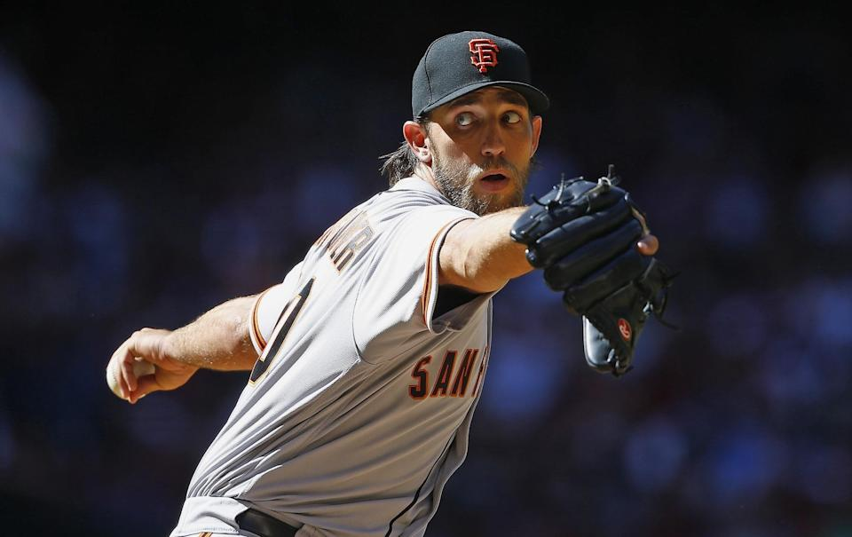 Madison Bumgarner injured his shoulder and ribs in a dirt bike accident. He's expected to miss six-to-eight weeks. (AP Photo/Ross D. Franklin)