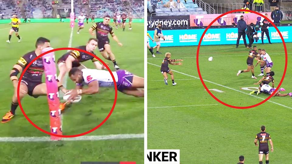 The Melbourne Storm were awarded a penalty try (pictured left) after a Penrith player used his foot and and Penrith denied for obstruction (pictured right.