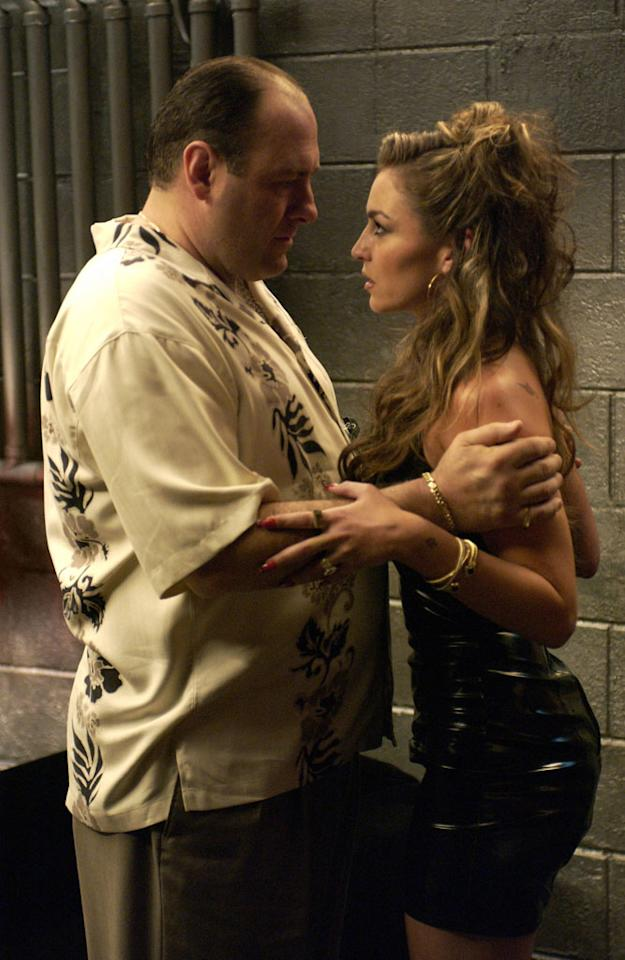 "James Gandolfini and Drea de Matteo in HBO's ""The Sopranos."""
