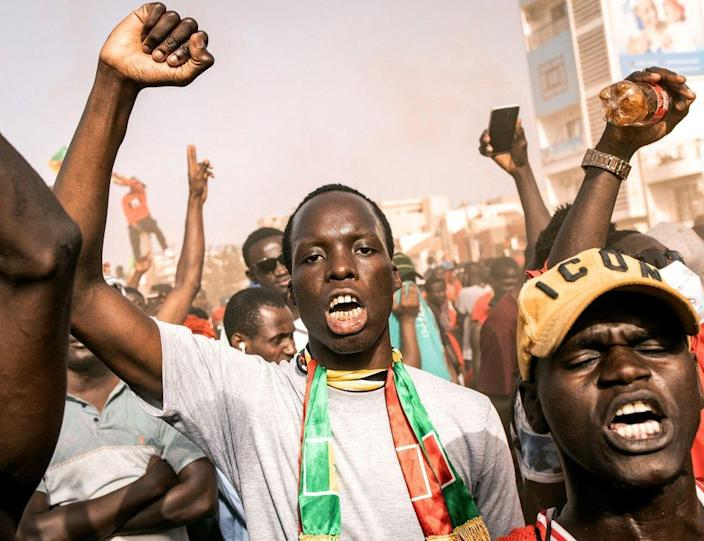 Supporters of the opposition collective the Movement for the Defence of Democracy at a rally in Dakar, Senegal - Wednesday 23 June 2021