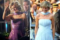 <p>Princess Diana paired a strapless dress with a matching scarf — a combination also worn by Emma Corrin's character.</p>