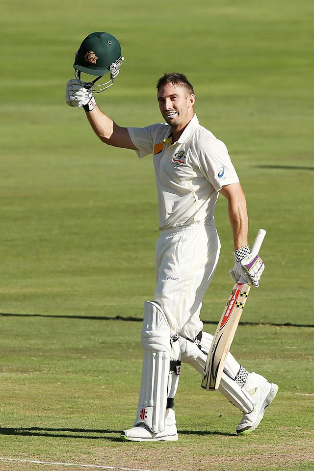 CENTURION, SOUTH AFRICA - FEBRUARY 12: Shaun Marsh of Australia celebrates reaching 100 runs during day one of the First Test match between South Africa and Australia on February 12, 2014 in Centurion, South Africa. (Photo by Morne de Klerk/Getty Images)