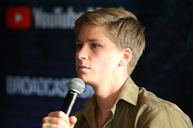 Robert Irwin talks to the media in the awards room during the 33rd Annual ARIA Awards 2019 at The Star on November 27, 2019 in Sydney, Australia. (Photo by Lisa Maree Williams/Getty Images)