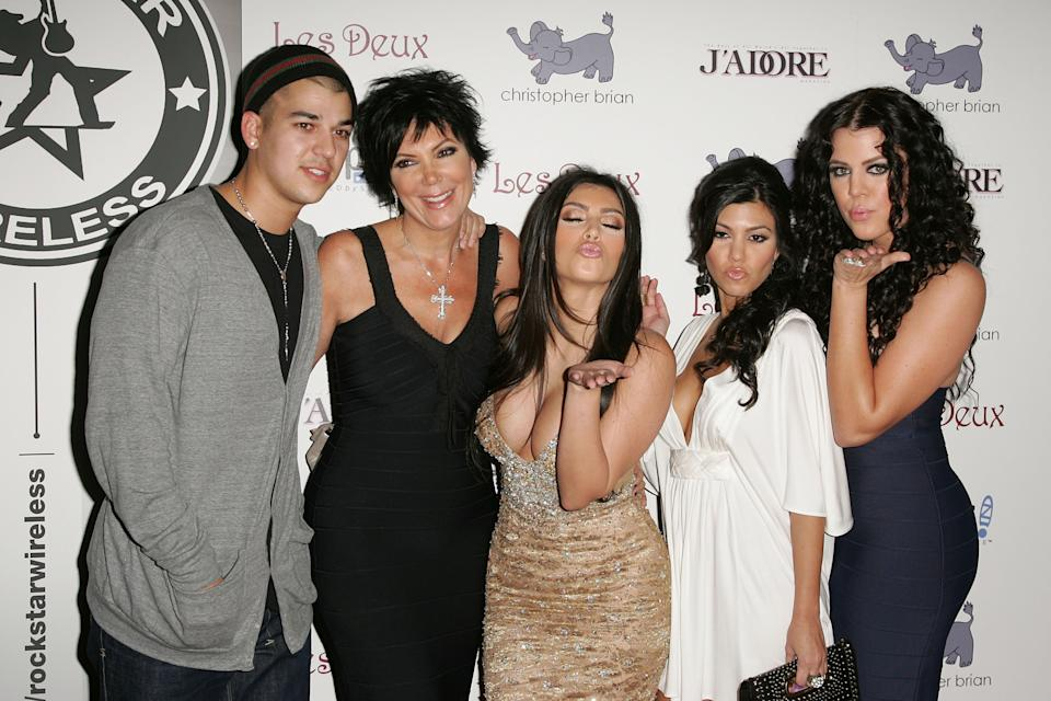 LOS ANGELES, CA - OCTOBER 21:  (L-R) Robert, Kris, Kim, Kourtney, and Khloe Kardashian arrive at Kim Kardashian's Birthday Party at Les Deux on October 21, 2007 in Los Angeles, California.  (Photo by Noel Vasquez/Getty Images)