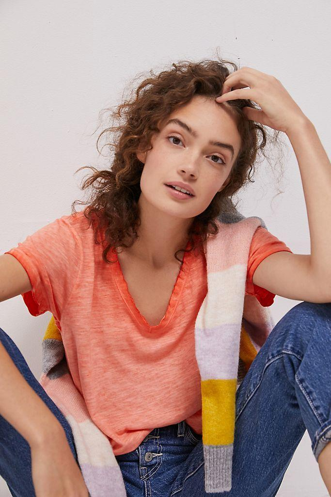 """<br><br><strong>Maeve Anthropologie</strong> Arista Washed Tee, $, available at <a href=""""https://go.skimresources.com/?id=30283X879131&url=https%3A%2F%2Fwww.anthropologie.com%2Fshop%2Farista-washed-tee-1"""" rel=""""nofollow noopener"""" target=""""_blank"""" data-ylk=""""slk:Anthropologie"""" class=""""link rapid-noclick-resp"""">Anthropologie</a>"""