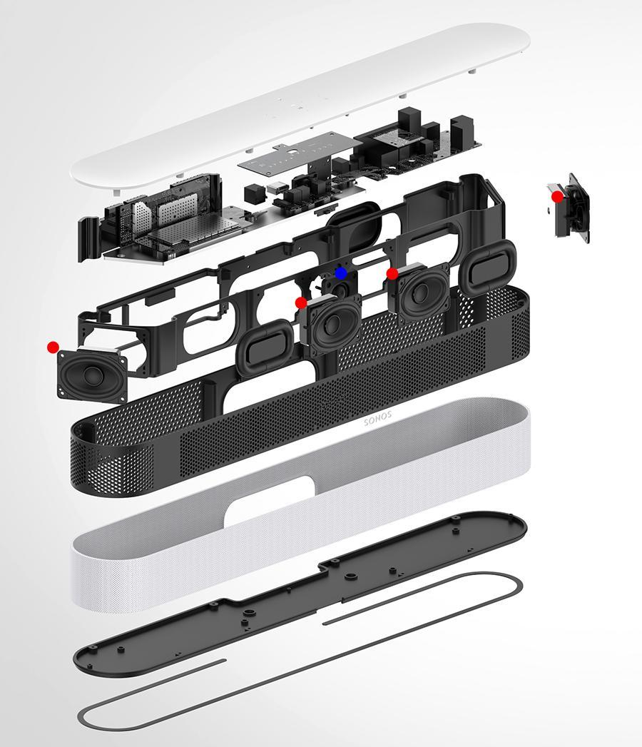 This exploded view shows the positions of the woofers (red dots) and the tweeter (blue dot).