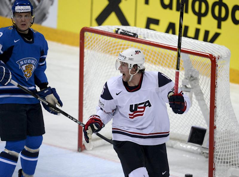 US player Craig Smith celebrates his 1-1 goal against Finland during the Ice Hockey World Championship preliminary round match in Helsinki, Finland, Wednesday May 8, 2013. (AP Photo/Lehtikuva/Martti Kainulainen) FINLAND OUT