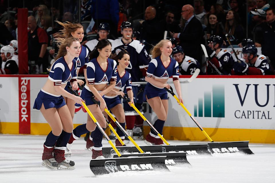 <p>The Colorado Avalanche ice girls clean the ice during a break in the action Arizona Coyotes at Pepsi Center on March 7, 2016 in Denver, Colorado. The Avalanche defeated the Coyotes 3-1. (Photo by Doug Pensinger/Getty Images) </p>
