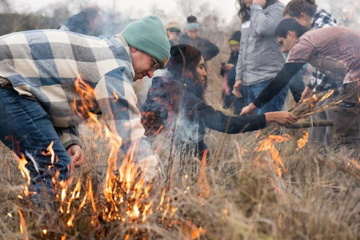 """<div class=""""inline-image__caption""""><p>University of California, Davis students and professors learn about living with fire during a cultural burn with members of the Native American community at the Cache Creek Nature Preserve in Woodland.</p></div> <div class=""""inline-image__credit"""">Alysha Beck/UC Davis/The Conversation</div>"""