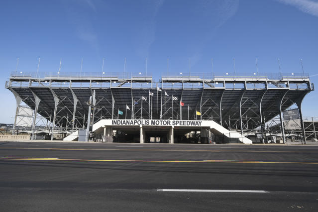 The main gate of Indianapolis Motor Speedway in Indianapolis is shown Monday, Nov. 4, 2019. Indianapolis Motor Speedway and the IndyCar Series were sold to Penske Entertainment Corp. in a stunning move Monday that relinquishes control of the iconic speedway from the Hulman family after 74 years. (AP Photo/AJ Mast)