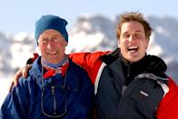 <p>Charles and William on the Madrisa ski slopes, above the Swiss village of Klosters, in 2004 (PA) </p>