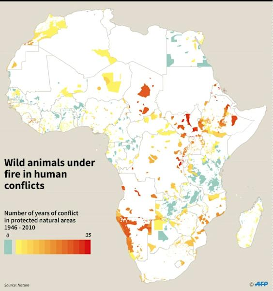Graphic map of Africa showing the number of years of conflict in protected natural areas