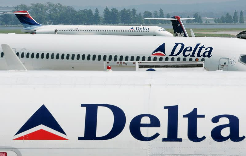 FILE PHOTO: Delta Airlines sit at Reagan National Airport outside Washington.