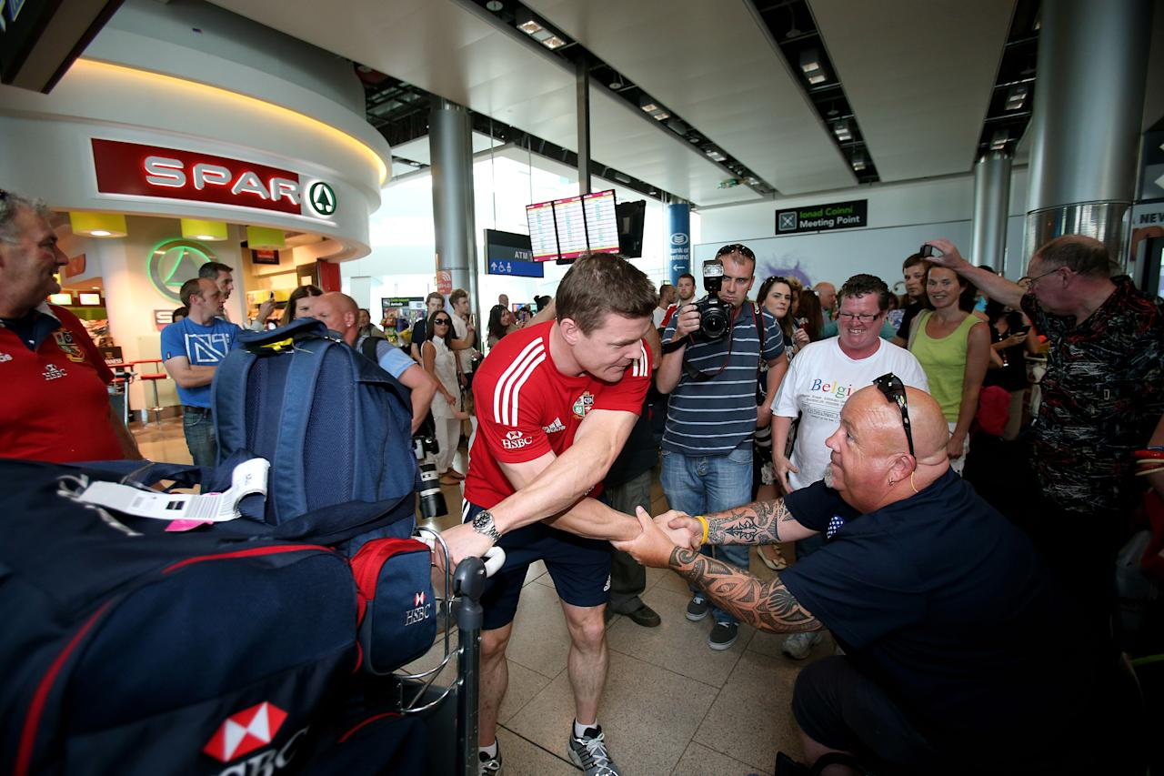 British and Irish Lions' Brian O'Driscoll at Dublin Airport following their series win over Australia. ASSOCIATION Photo. Picture date: Wednesday July 10, 2013. See PA story RUGBYU Lions. Photo credit should read: Julien Behal/PA Wire.