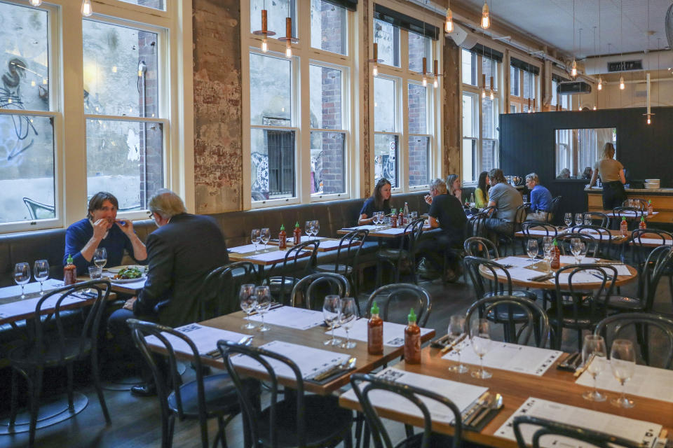 Diners are seen in a dining room of popular Melbourne restaurant in October 2020. Source: AAP