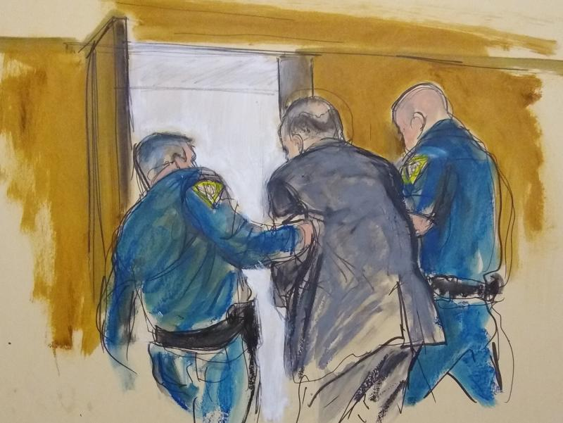 Courtroom sketch of Harvey Weinstein being led out of Manhattan Supreme Court