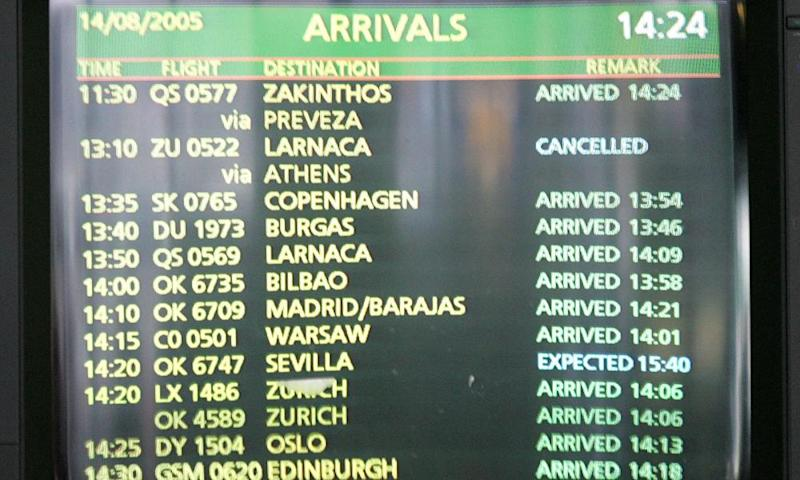 An arrival monitor in Prague, flight 522's final destination, shows it as cancelled.