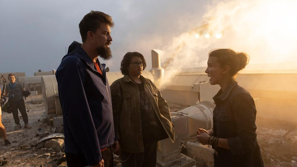 Adam Wingard, Julian Dennison and Millie Bobby Brown on the set of 'Godzilla Vs. Kong' (Warner Bros.)