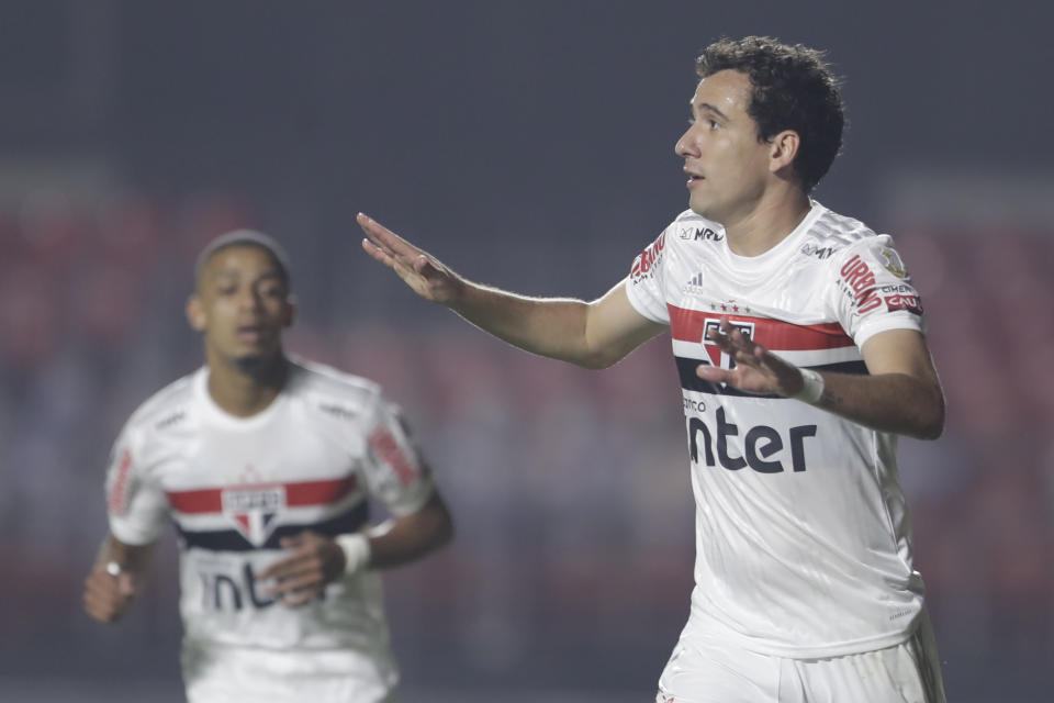 Brazil's Sao Paulo forward Pablo celebrates after scoring against Peru's Binacional during their closed-door Copa Libertadores group phase football match at the Morumbi stadium in Sao Paulo, Brazil, on October 20, 2020, amid the COVID-19 novel coronavirus pandemic. (Photo by Andre Penner / POOL / AFP) (Photo by ANDRE PENNER/POOL/AFP via Getty Images)