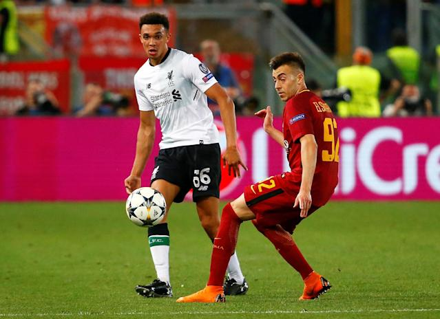 Soccer Football - Champions League Semi Final Second Leg - AS Roma v Liverpool - Stadio Olimpico, Rome, Italy - May 2, 2018 Liverpool's Trent Alexander-Arnold in action with Roma's Stephan El Shaarawy REUTERS/Tony Gentile