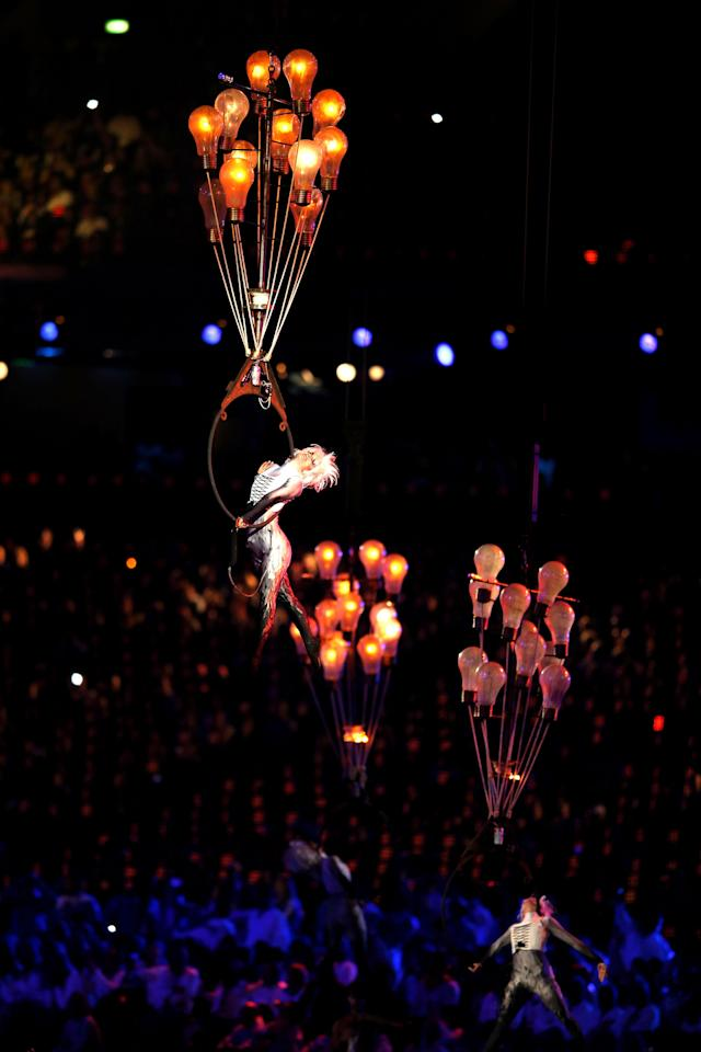 LONDON, ENGLAND - SEPTEMBER 09: Circus artists perform during the closing ceremony on day 11 of the London 2012 Paralympic Games at Olympic Stadium on September 9, 2012 in London, England. (Photo by Hannah Johnston/Getty Images)