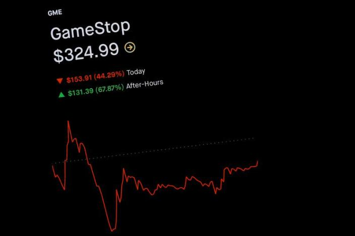 FILE PHOTO: FILE PHOTO: Trading information for GameStop is displayed on the Robinhood App