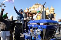 The farmers had travelled from rural areas to New Delhi to demonstrate at the weekend